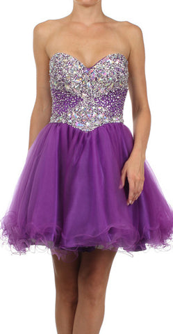 ON SPECIAL - LIMITED STOCK - Poofy Prom Dress Purple Short Tulle Skirt A Line Strapless