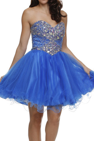 ON SPECIAL - LIMITED STOCK - Poofy Prom Dress Royal Blue Short Tulle Skirt A Line Strapless