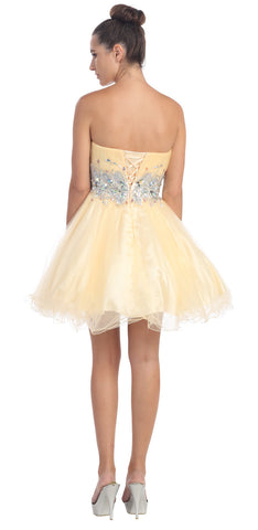 Starbox USA 6057 Poofy Short Homecoming Dress Champagne Strapless A Line Sequins