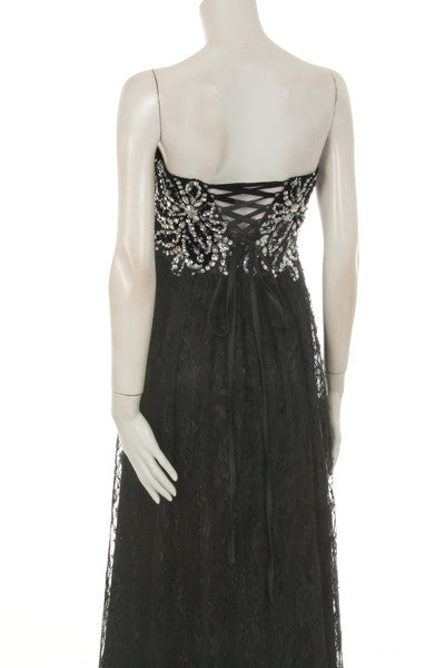 Black Long Evening Lace Dress Front Slit Strapless Sequin Top