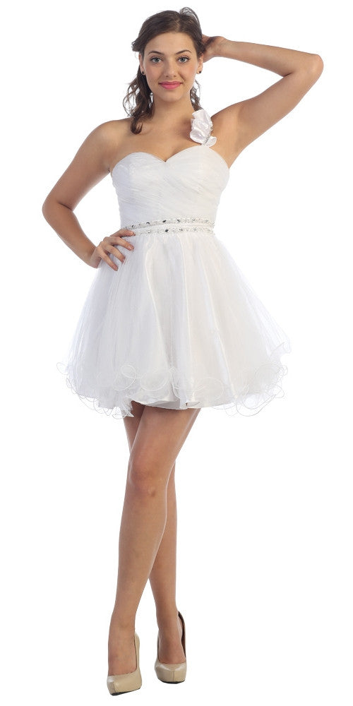 Ruched Bodice Short One Shoulder Tulle White Prom Dress