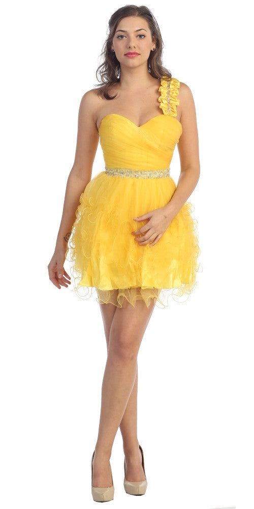 Ruched Bodice Short One Shoulder Tulle Yellow Prom Dress