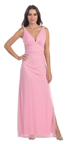 Ruched Bodice Side Gathered Sleeveless Dusty Rose Long Dress