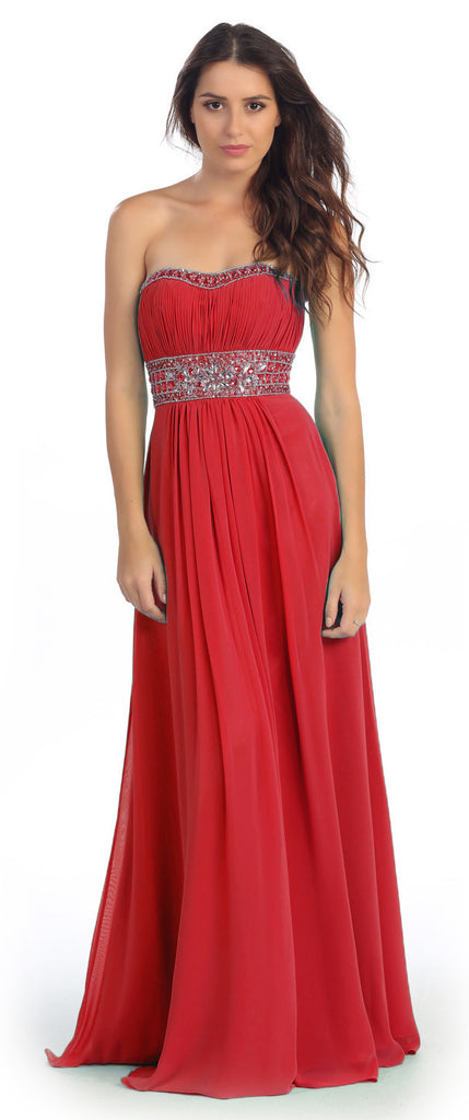 Ruched Bodice Studded Empire Waist Red Formal Gown