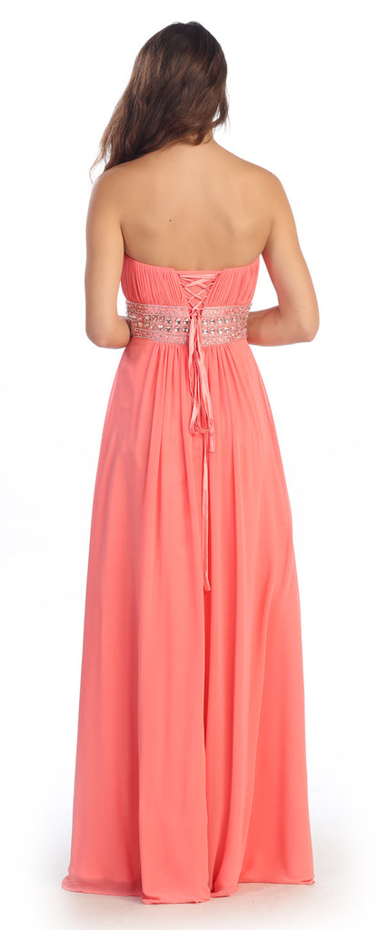 Ruched Bodice Studded Empire Waist Coral Formal Gown