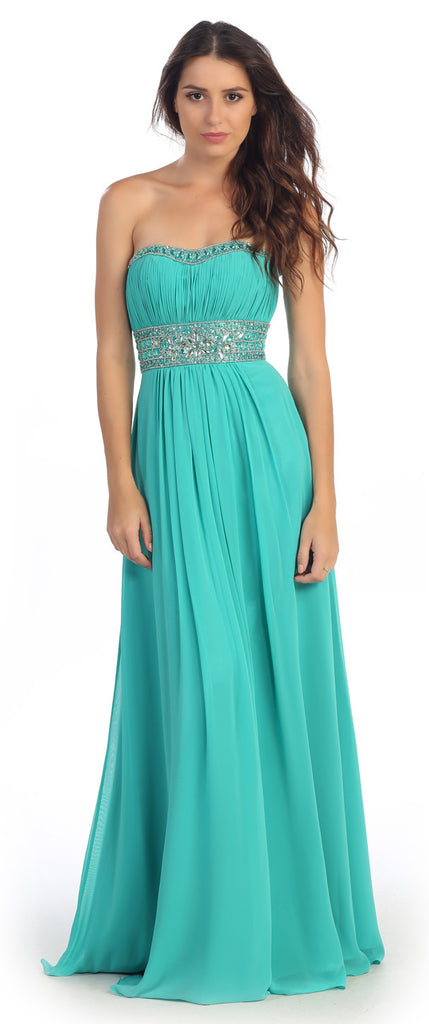 Ruched Bodice Studded Empire Waist Jade Formal Gown