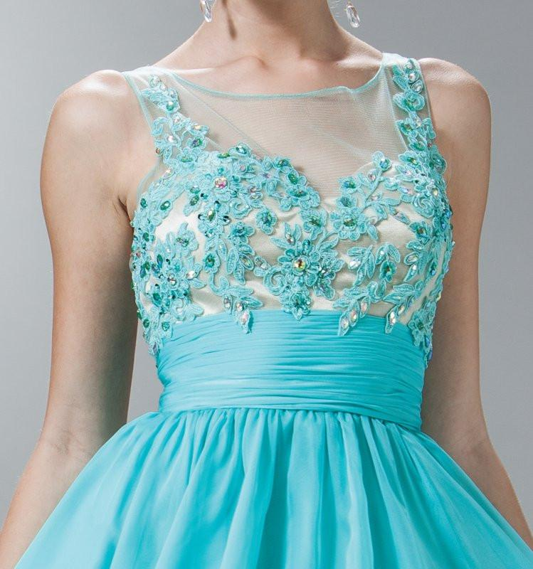 Short A Line Prom Dress Aqua Chiffon Illusion Neck Zoom