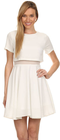Short Sleeve Mini A Line White Dress Round Neck Mesh Inset