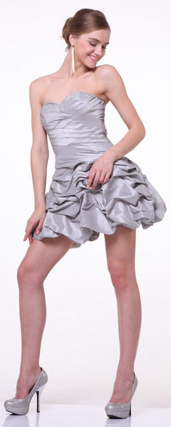 Plus Size Silver Ruched Short Dress Strapless Pleated Bodice Gown