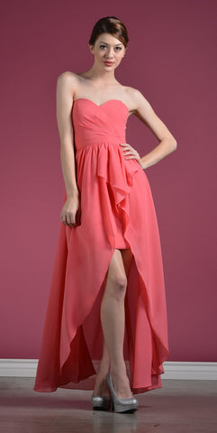 Strapless Chiffon Bridesmaid Dress Coral High Low Chiffon