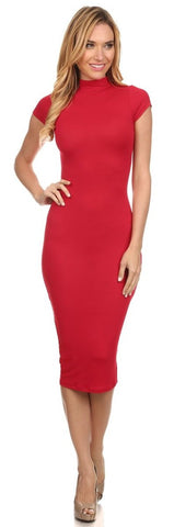 Body Con Knee Length Red Midi Dress Turtle Neck Short Sleeves