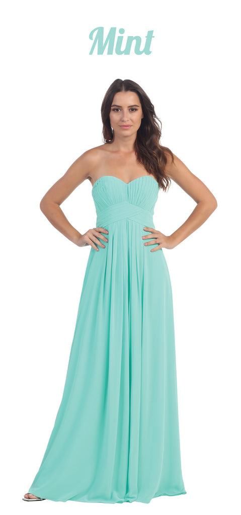 Strapless Ruched Bodice Mint Long A Line Semi Formal Dress