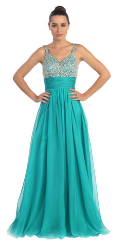 Studded Sleeveless Long Jade A Line Formal Evening Gown