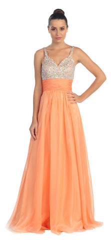 Studded Sleeveless Long Peach A Line Formal Evening Gown