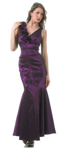 Mermaid Gown Plum Long Taffeta Flower Strap Front Slit