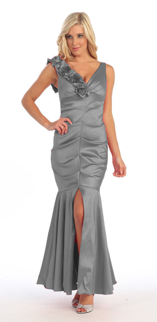 Mermaid Gown Silver Dress Long Satin Flower Strap Flaired Skirt