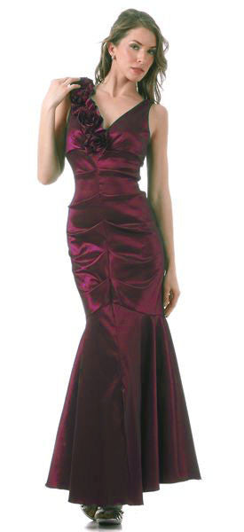 Mermaid Gown Burgundy Dress Long Satin Flower Strap Flaired Skirt