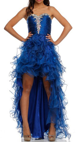 ON SPECIAL - LIMITED STOCK - Two Tone Royal Blue Formal High Low Dress Strapless Ruffle Skirt