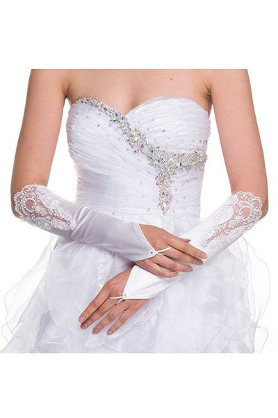 White Fingerless Mid Length Satin Gloves With Lace Embroidery