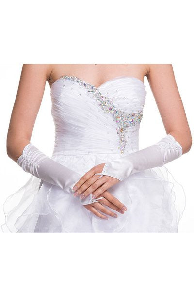 White Fingerless Mid Length Satin Gloves With Rhinestone Detail