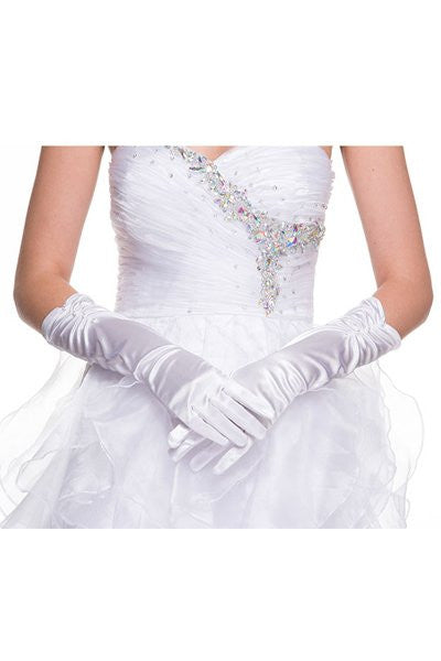White Mid Length Satin Gloves With Rhinestone Detail