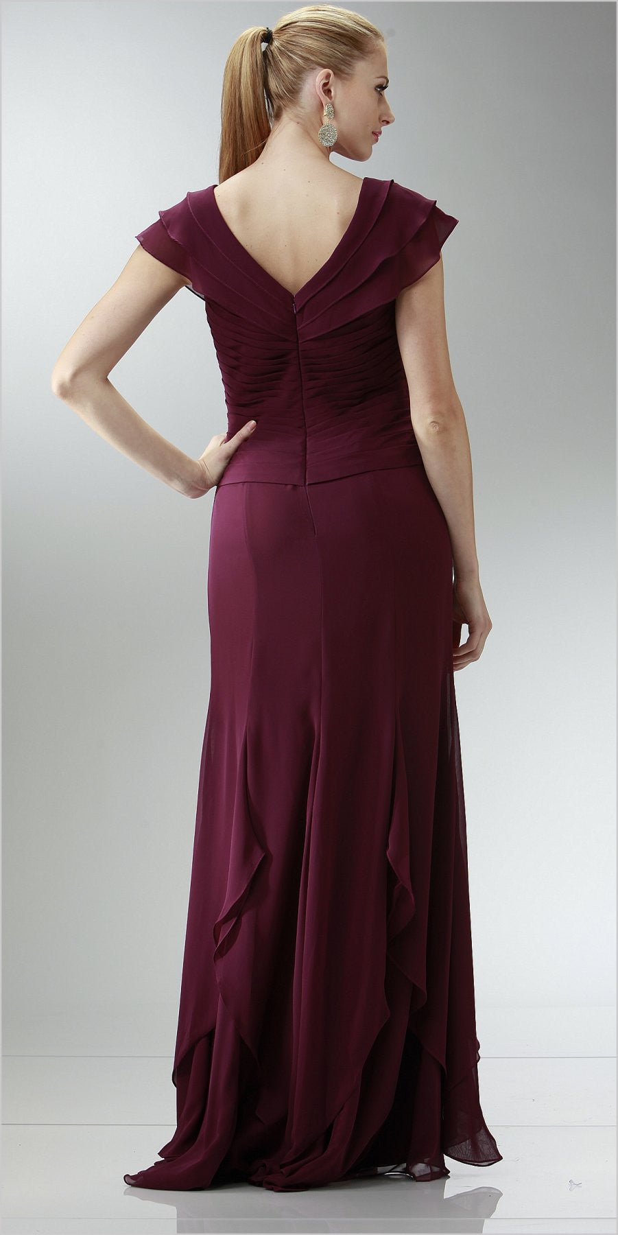 ON SPECIAL LIMITED STOCK - Short Cap Plum Long Chiffon Mother of Bride Dress V-Neckline Layered