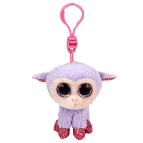 "Lilli the Lavender the Lamb Key Clip - 4"" - Ty Basket Beanies"
