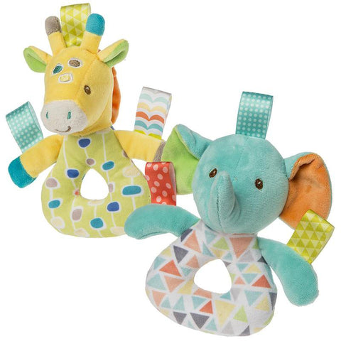 "Taggies Gumdrops Giraffe & Kaleidoscope Elephant Ring Rattles - 6.5"" - Mary Meyer Baby"