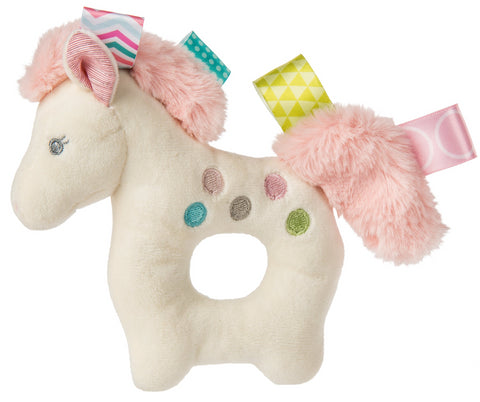 "Taggies Painted Pony Plush Ring Rattle - 6"" - Mary Meyer Baby"