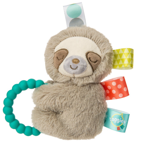 "Taggies Molasses Sloth Ring Rattle Teether - 5"" - Mary Meyer Baby"
