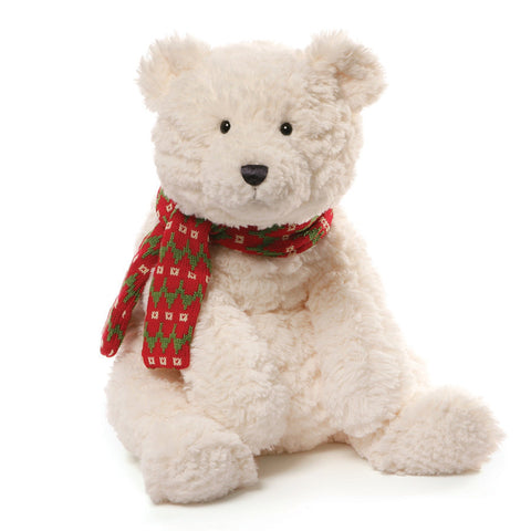 "Bluster Large Winter Holiday Polar Bear with Scarf - 21.5"" - Gund"