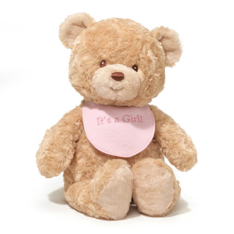"It's A Girl Teddy Bear with Bib - 15"" - Gund"