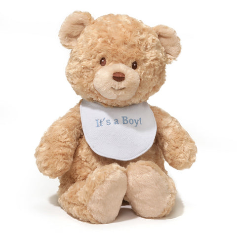 "It's A Boy Teddy Bear with Bib - 15"" - Gund"