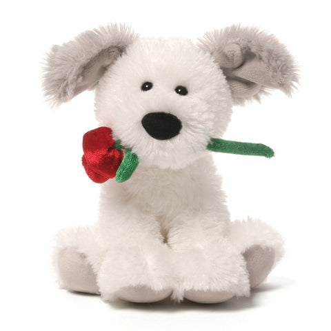 "Demarco the White Valentine's Day Dog with Rose Small - 6"" - Gund"