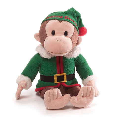 "Curious George Elf Christmas Monkey Stuffed Animal - 13.5"" - Gund"