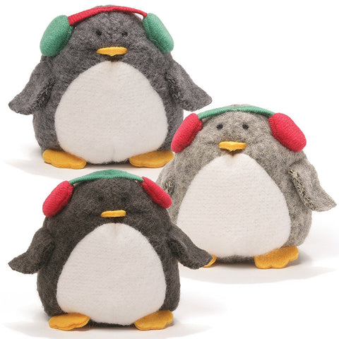"Peppy Penguin Christmas Beanbag with Earmuffs - 3"" - Gund"