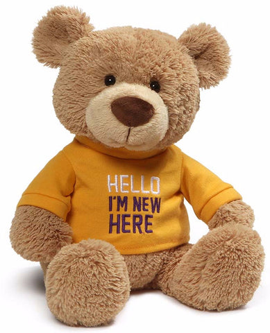 "Hello I'm New Here T-Shirt Teddy Bear - 12.5"" - Gund"