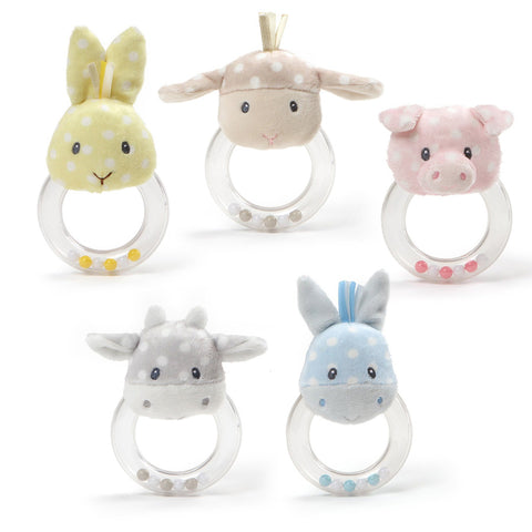 "Roly Polys Plush Animal Ring Rattles - 4.5"" - Baby Gund"