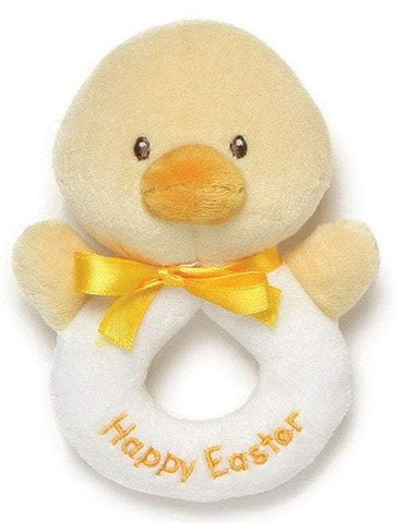"Happy Easter Duck Plush Ring Rattle - 5"" - Baby Gund"