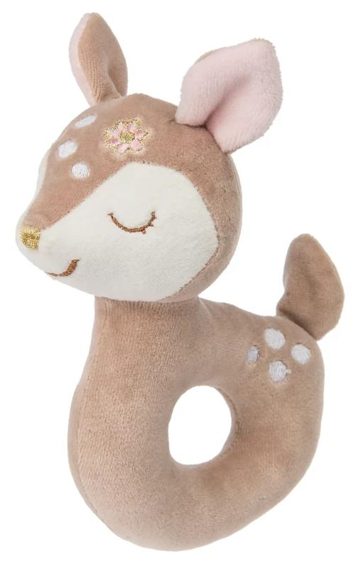 Itsy Glitzy Fawn Plush Ring Rattle - 6