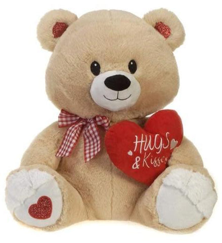"Hugs & Kisses Beige Valentine's Day Teddy Bear - 15"" - Fiesta"