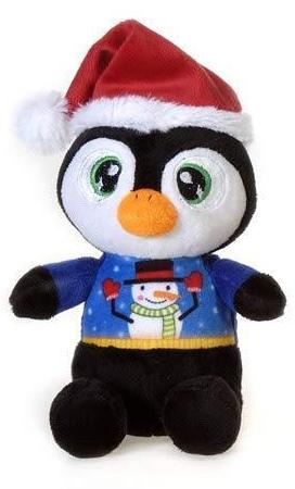 "Christmas Pals Big Eyed Penguin with Snowman Sweater Print - 8.5"" - Fiesta"