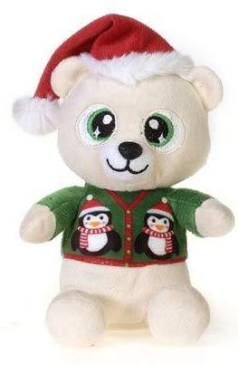 "Christmas Pals Big Eyed Polar Bear with Penguin Sweater Print - 8.5"" - Fiesta"
