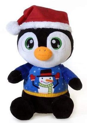 "Christmas Pals Big Eyed Large Penguin with Snowman Sweater Print - 11"" - Fiesta"