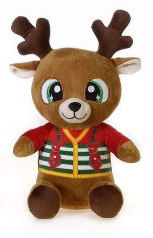 "Christmas Pals Big Eyed Large Reindeer with Joy Sweater Print - 13"" - Fiesta"