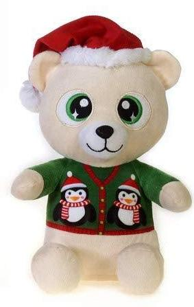 "Christmas Pals Big Eyed Large Polar Bear with Penguin Sweater Print - 11"" - Fiesta"