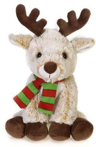 "Reindeer Stuffed Animal Tan with Red & Green Scarf - 11"" - Fiesta"