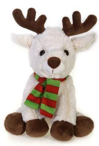 "Reindeer Stuffed Animal Beige with Red & Green Scarf - 11"" - Fiesta"