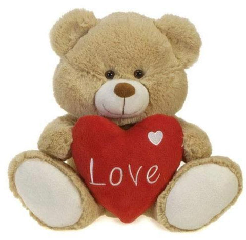 "Valentine's Day Light Brown Teddy Bear with Plush Heart - 12"" - Fiesta"