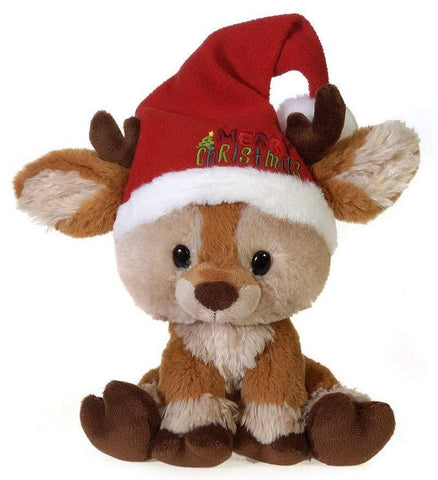 "Sitting Merry Christmas Reindeer Stuffed Animal with Santa Hat - 9.5"" - Fiesta"